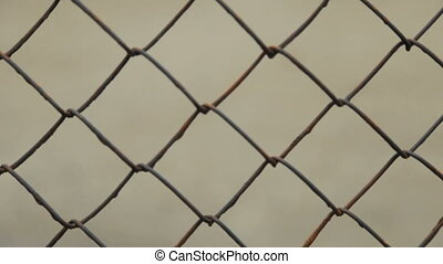 Metal fence of rods. Close-up - Metal mesh. Fencing.Full hd...