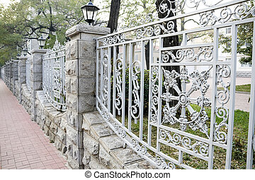 Metal Fence - House yard with a decorative iron fence