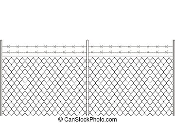Metal fence with barbed wire vector illustration