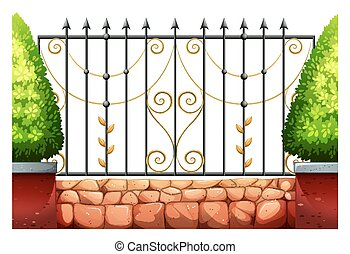 Metal fence with classic design