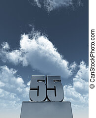 metal fifty five - 55 - in front of cloudy blue sky - 3d ...