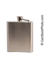 Metal flask for alcoholic beverages on white background
