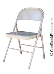 Metal folding chair isolated on white background with clipping path.