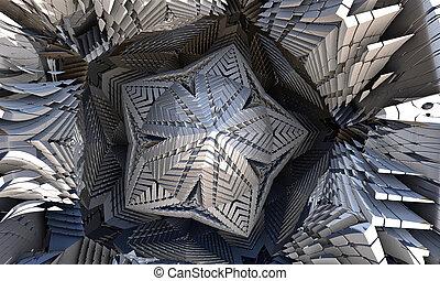 Metal fractal design in the shape of a star. 3d illustration