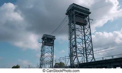Metal frame towers of two-tier bridge Kaliningrad - Low ...