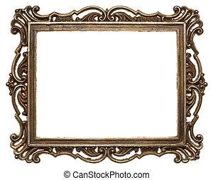 Metal frame - Vintage brass metal frame, isolated.