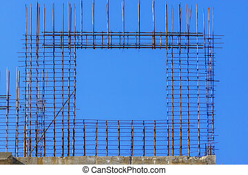 Metal frame window at building construction