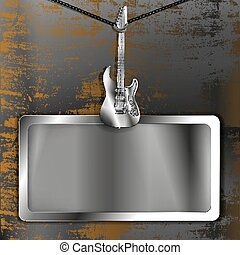 metal frame with electric guitar
