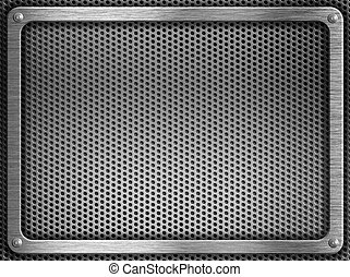 metal frame with screws over grate background