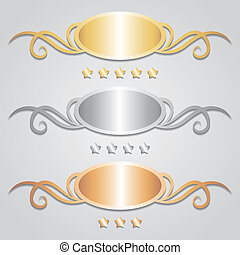 metal frames and stars on gray background