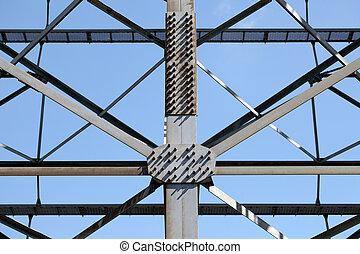 Metal framework - metal framework of seen against a blue sky