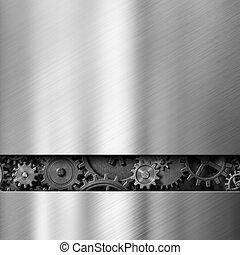 metal, fundo, com, cogs, e, engrenagens, 3d, ilustração