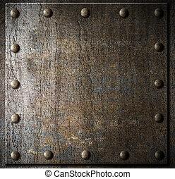 metal, fundo, com, rebites