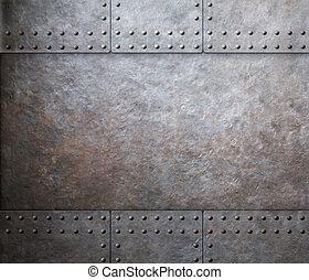 metal, fundo, rebites, aço, armadura
