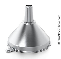 Metal funnel isolated on white background. 3D illustration