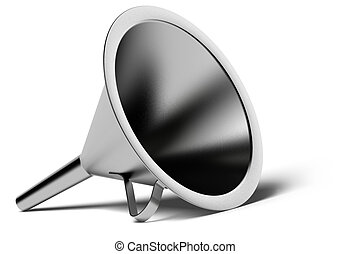 metal funnel over a white background with shadow