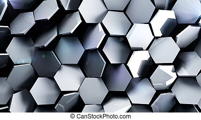 Metal futuristic hexagons background.3d render illustration