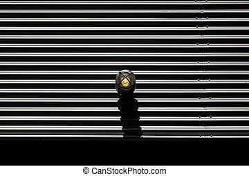 Metal garage door and a lamp