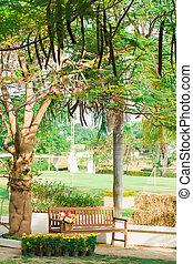 metal garden chair in the garden