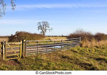 metal gate with bridleway