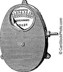 Metal gauge, Bourdon for fixed boilers, vintage engraving.