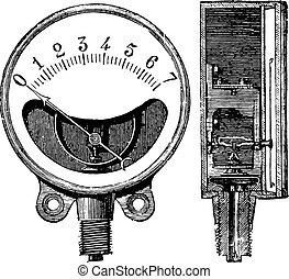 Metal gauge, Ducomet system, Front and cut, vintage engraving.