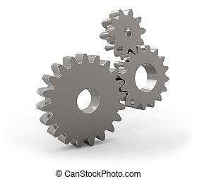 metal, gear hjul, sæt, isoleret, på hvide, baggrund.