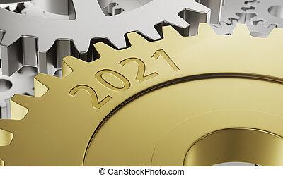 Metal gear wheels with the engraving 2021 - 3d render