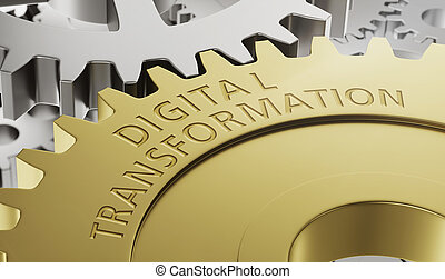 Metal gear wheels with the engraving Digital Transformation...