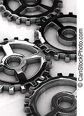 Metal gears - Chrome gear wheels with shallow depth of field...