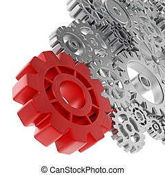 Metal gears connected to big red wheel. 3D illustration