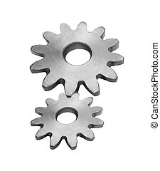 Metal gears isolated on white