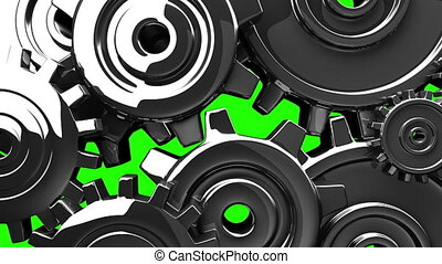 Metal gears on green chroma key. 3DCG render animation.