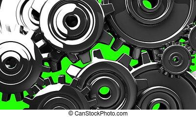 Metal gears on green chroma key. Loop able 3DCG render...