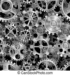 Metal gears pattern. - Seamless pattern of shiny metal...