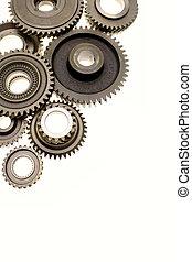 Metal gears - Metal gears over plain background. Copy space...