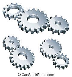 Metal gears. - Three groups of metal gears.