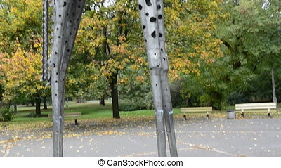 metal giraffe sculpture in the park - metal giraffe...