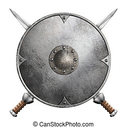 metal gladiator shield and two crossed swords 3d illustration isolated