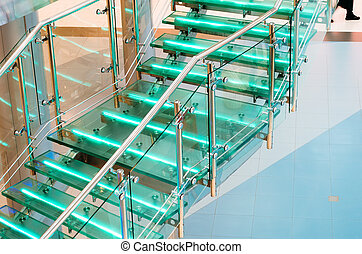 Metal glass staircase with neon, led backlight.