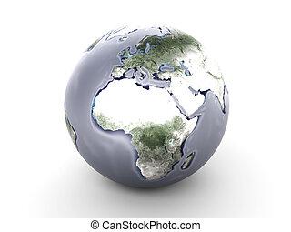 Metal Globe - Europe, Africa