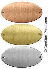 Metal, gold and bronze oval plates or plaques with clipping path included