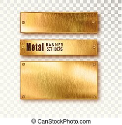 Metal gold banners set realistic. Vector Metal brushed plates with a place for inscriptions isolated on transparent background. Realistic 3D design. Stainless steel background.