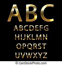 Metal gold font