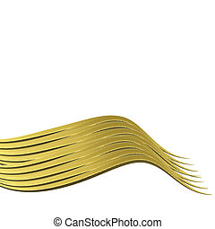 metal gold wave isolated on white - sheet metal in gold on...