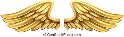 Metal Gold Wings - A pair of gold golden shiny metal wings...