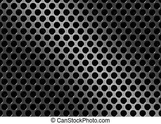 A realistic metal grate or grill with circular holes.