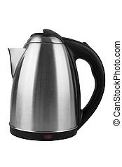 kettle - Metal grey electric kettle isolated on white...