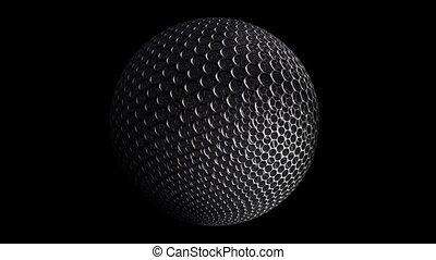 Metal grid rotating sphere over black