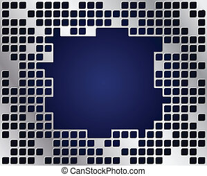 Metal grid vector, big copy space - Dark blue background and...